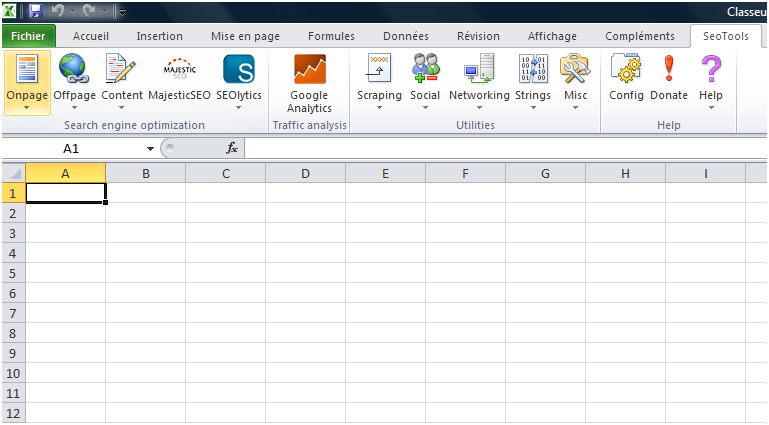 Sortie de SeoTools 4.0.7 pour Excel