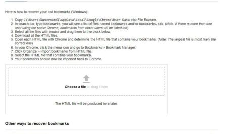 Chrome Bookmarks Recovery