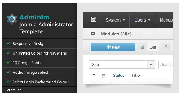 Adminim, un thème pour l'administration de votre site Joomla!