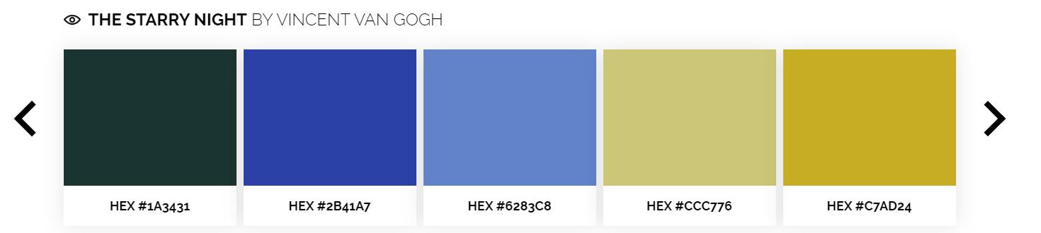 Color Lisa : des palettes de couleurs issus d'artistes reconnus