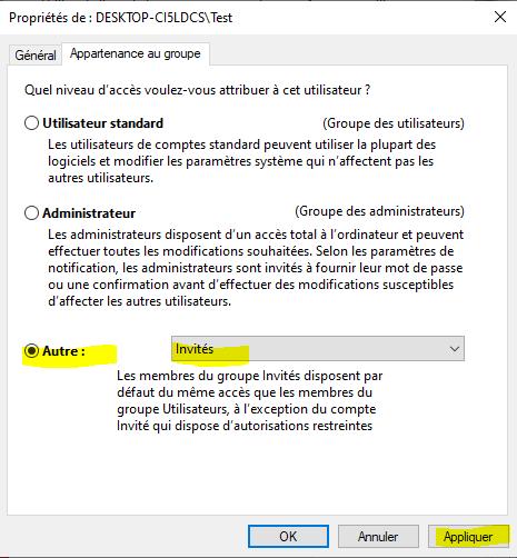 Créer un compte invité sous Windows 10