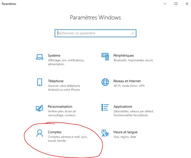 comptes windows