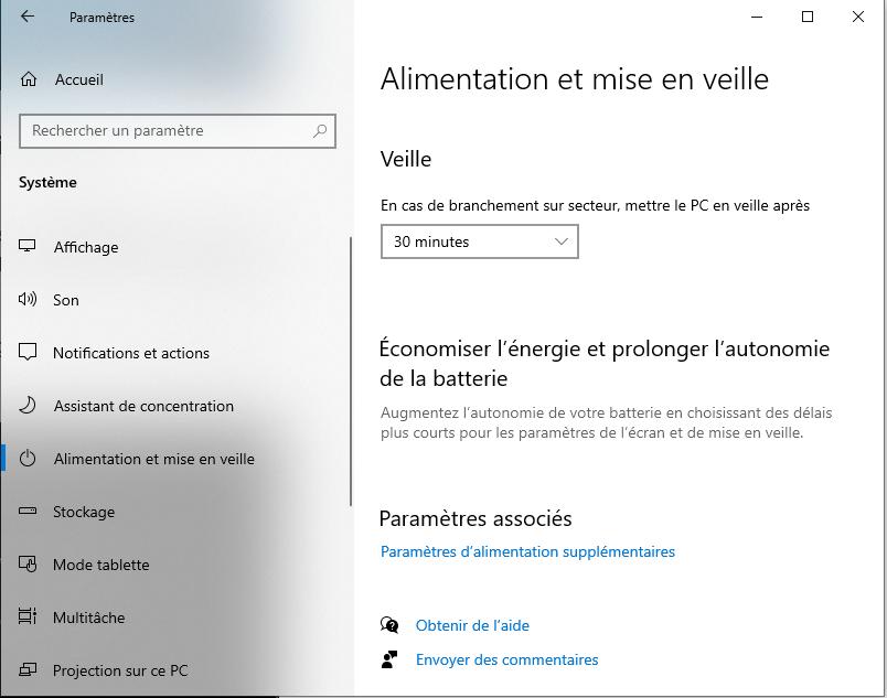 parametres alimentation Windows 10
