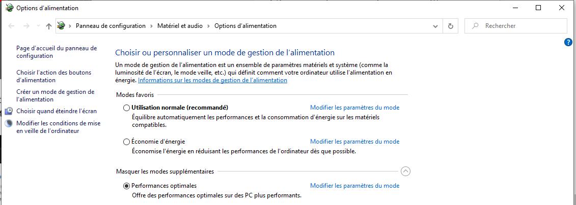 Activer le mode performances optimales sous Windows 10