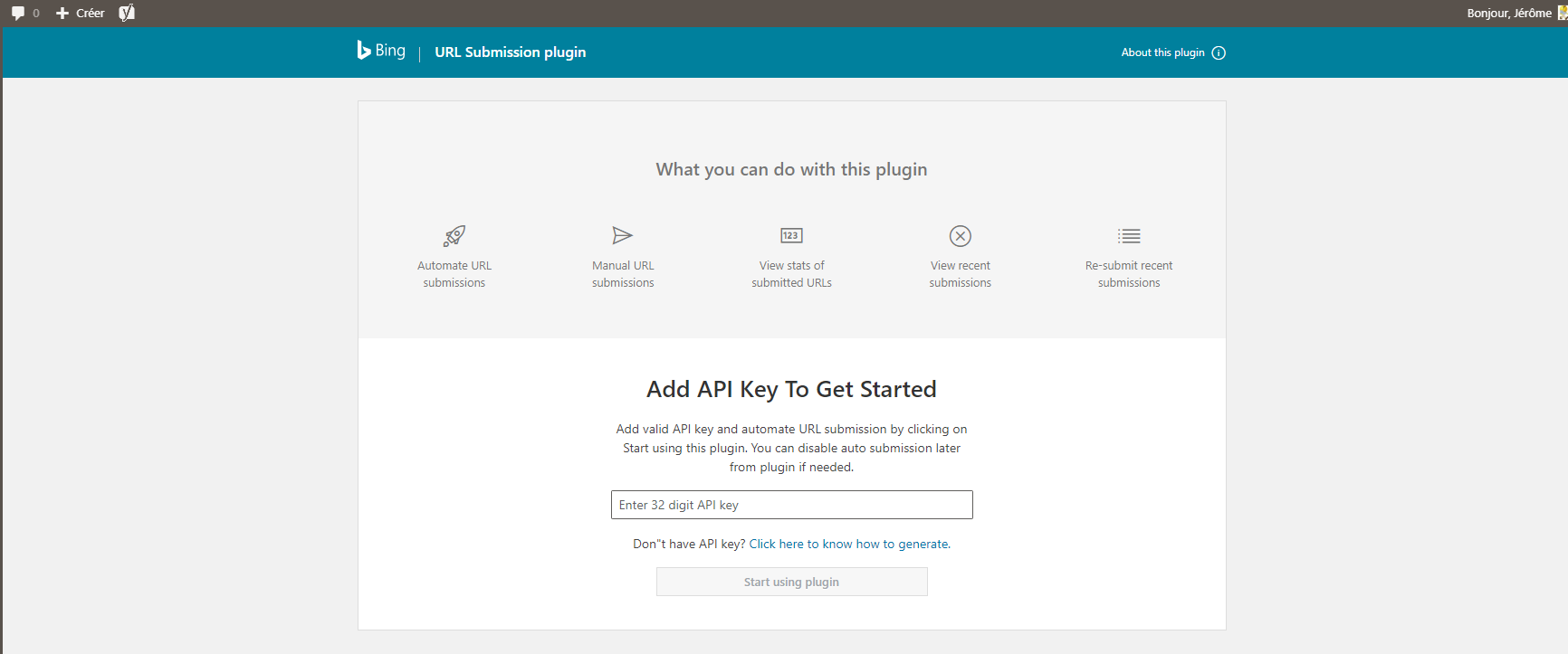 parametrer bing url submission wordpress