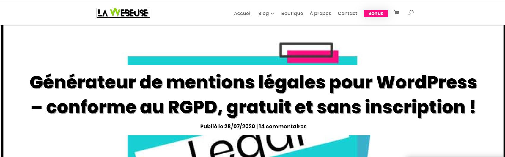 la webeuse generateur mentions legales