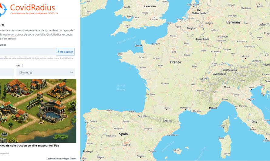 3 sites pour définir le périmètre de 1 km ou 20 kms autour de chez vous