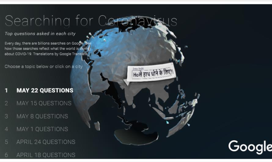 Les questions les plus posées sur les moteurs de recherche pour le Coronavirus