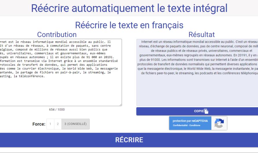 Reformuler automatiquement du texte