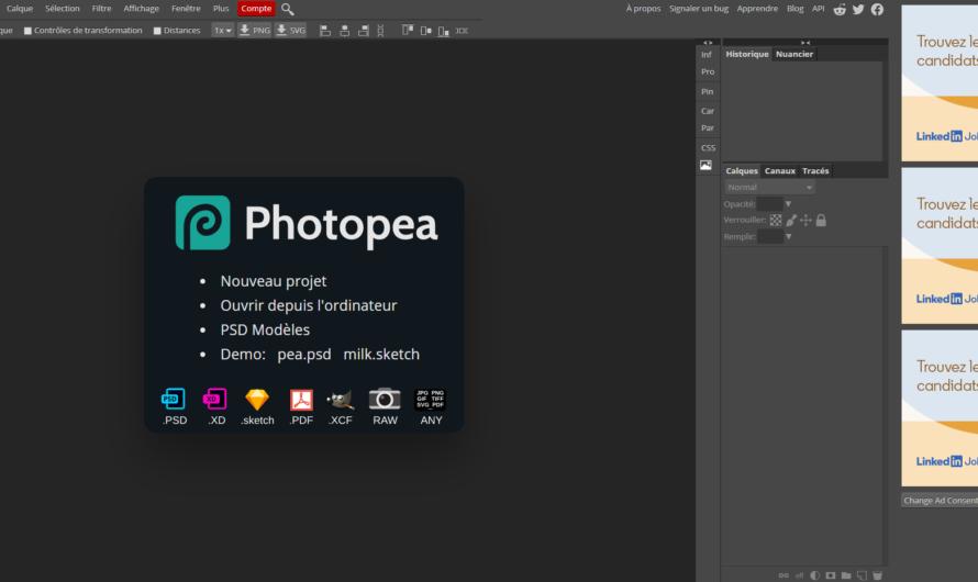 Photopea : retoucher vos photos gratuitement en ligne