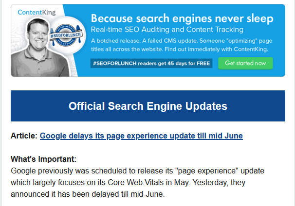 Official Search engine update #SEOFORLUNCH