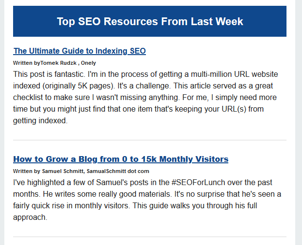 TOP SEO RESSOURCES FROM LAST WEEK