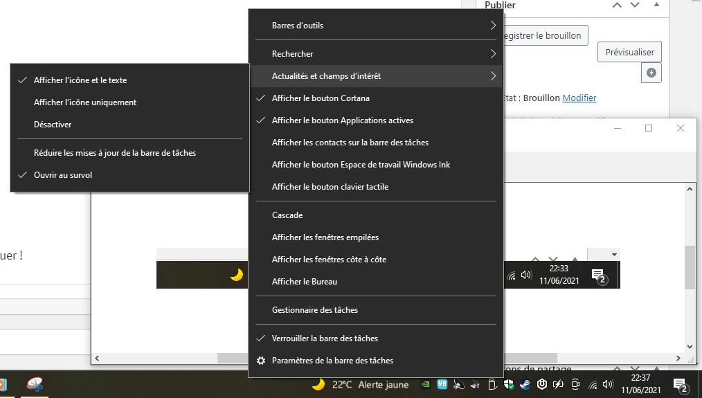 desactiver widget meteo windows 10