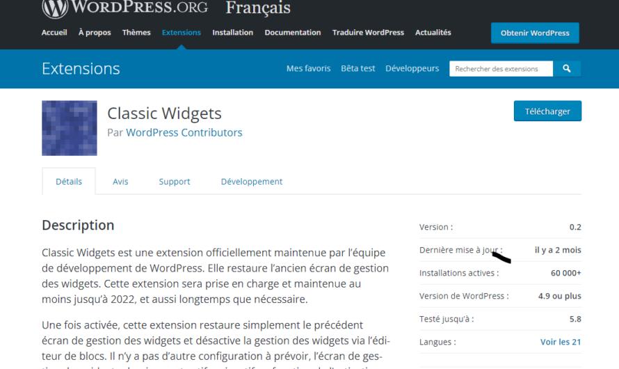 Retrouver l'ancien écran de gestion des widgets sous WordPress