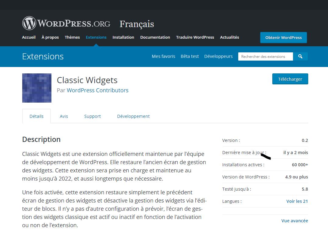 Classic Widget WordPress
