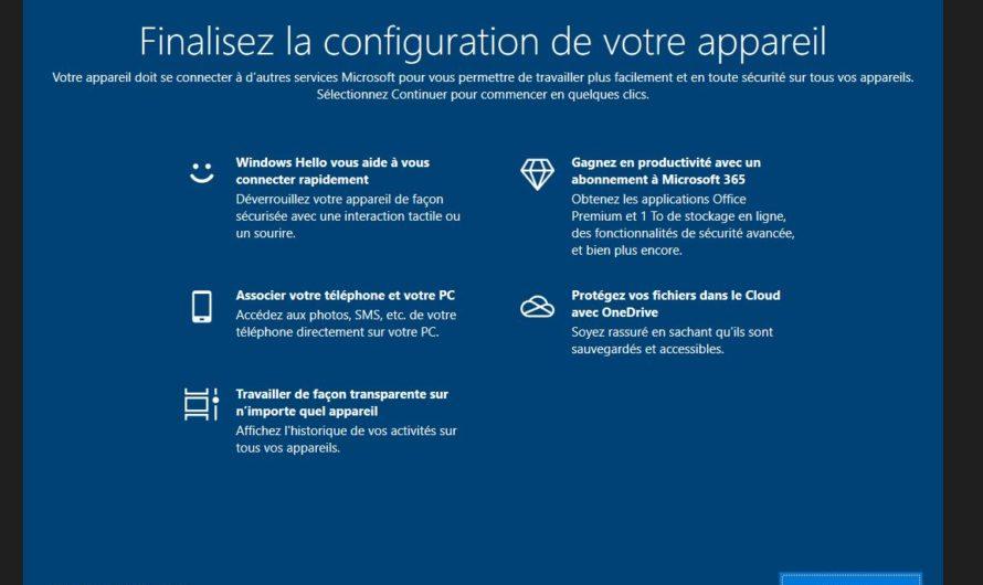 Désactiver l'écran Windows 10 « Finalisez la configuration de votre appareil »