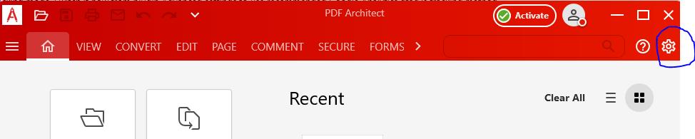 Options PDF Architect