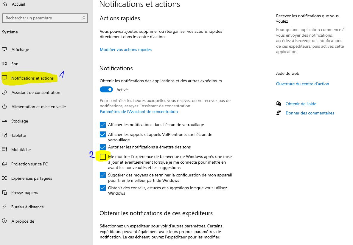desactiver ecran finaliser la configuration de windows 10